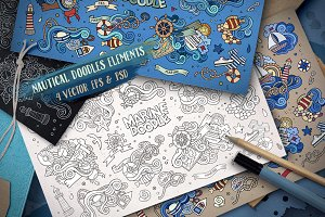 ✮ Nautical Doodles Designs Set