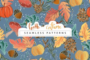 Hello Autumn Seamless Pattern