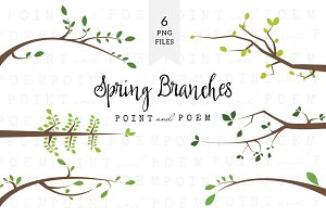 Branch Silhouettes Clipart - Spring
