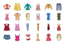 Clothes Hand Drawn Vector Icons