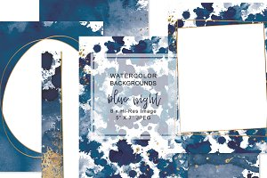 Watercolor Navy & Gold Background