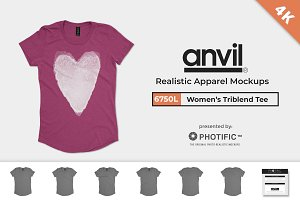 Anvil 6750L Womens Triblend Mockups