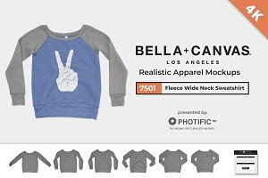 Bella Canvas 7501 Wide-Neck Mockups