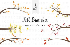 Branch Silhouettes Clipart - Fall