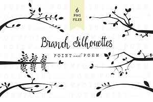 Branch Silhouettes Clipart - Black