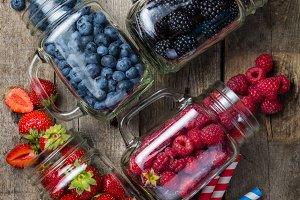 Berries in glass jars - homemade jam