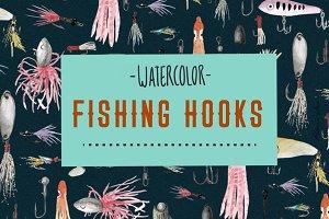 watercolor fishing hooks