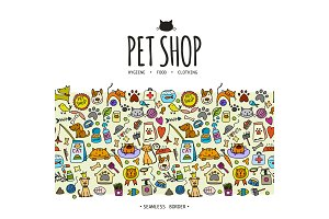 Pet shop background, seamless