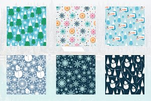 6 Winter Snowflake Seamless Pattern