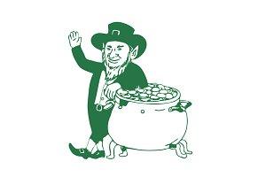 Green Leprechaun Standing by Pot of