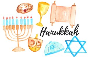 Watercolor Hanukkah Clipart Set
