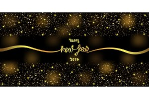 Happy New Year 2019 Web Banner with
