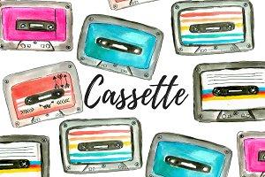 Watercolor Cassette Clipart