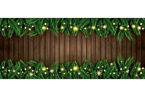 Fir Branch with Neon Lights and Gold