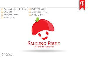 Smile Fruit Logo Template
