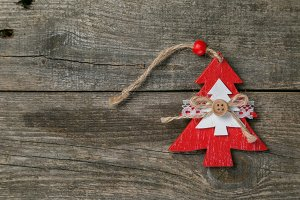 Christmas decorations on rustic wood