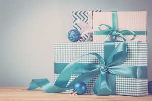 Christmas presents in decorative