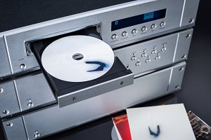 music player with CD in the tray
