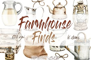 Farmhouse Finds Watercolor Clip Art