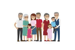 Multi-generation Family Colourful