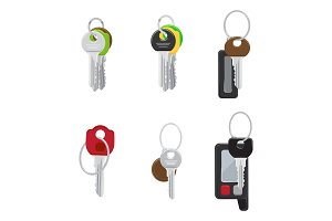 Set of Modern Door and Car Keys Flat