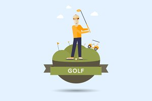 Golf. Flat style vector illustration