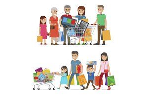 Families Shopping Concept Vector