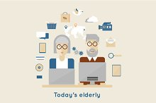 Modern elderly and flat icons.