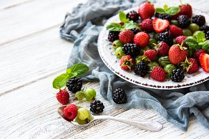 Plate with summer berries