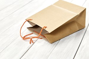 bag paper brown surprise gift on whi