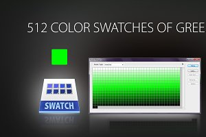 512 color swatches of green