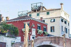 Venetian bridge and houses. Lagoons