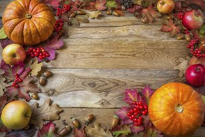Frame of pumpkins, apples, acorns