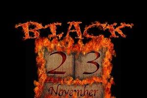 Burning wooden calendar Black Friday