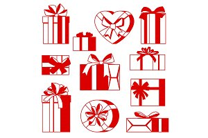 Celebration icon set of gift boxes