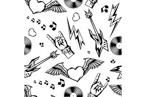 Rock and roll music seamless pattern