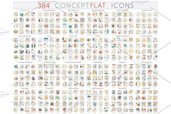 384 Complex concept flat icons
