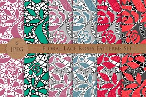Seamless lace roses flowers patterns