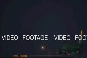 Night departure of S7 Airlines plane