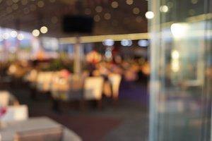 Abstract restaurant evening interior