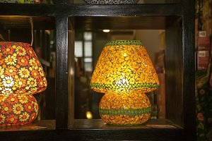 Lamp constructed with yellow glass p