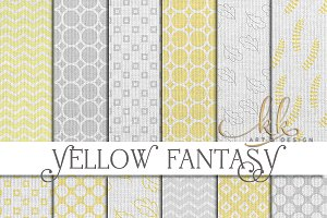 Yellow and Gray Burlap Patterns