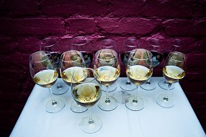 Many glasses of wine in a luxurious,