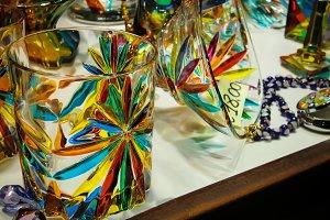 Murano glass glasses.
