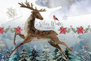 Silver winter clipart set
