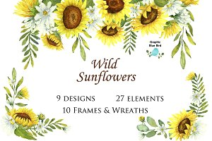 Wild Sunflowers Watercolor Clip Art