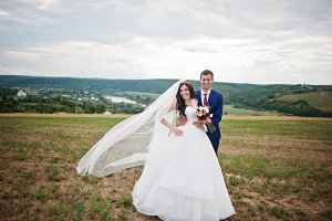 Wedding couple in love stay at beaut