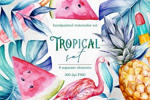 Hand painted tropical clipart