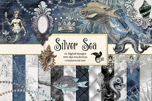 Silver Sea Digital Scrapbooking Kit