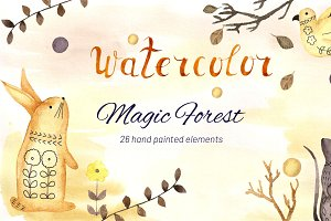 Watercolor Magic Forest Set